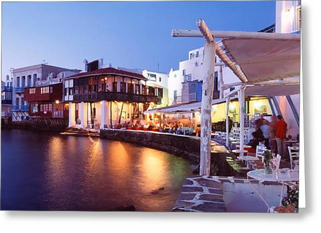 Night Cafe Greeting Cards - Mykonos, Greece Greeting Card by Panoramic Images