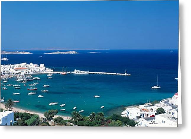 Small Towns Greeting Cards - Mykonos Island Greece Greeting Card by Panoramic Images