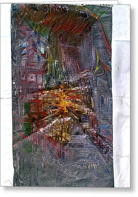 Non-figurative Greeting Cards - Mysterious city of the mystics Greeting Card by Ulrich De Balbian