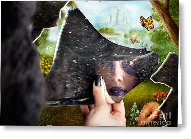 Jester Greeting Cards - Mysterious jester found wonderland in a reflection Greeting Card by Ryan Jorgensen