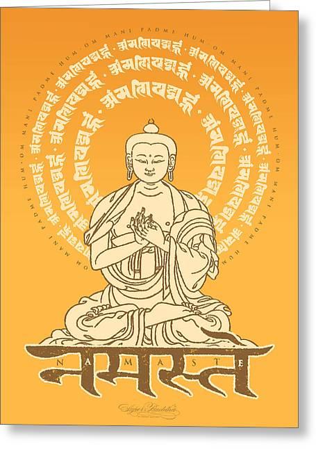 Spiritual Tapestries - Textiles Greeting Cards - Namaste Buddha Gold Greeting Card by Thomas Mattson