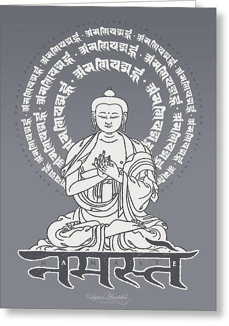 Buddha Tapestries - Textiles Greeting Cards - Namaste Buddha Pewter Greeting Card by Thomas Mattson