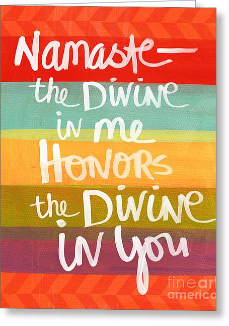 Striped Mixed Media Greeting Cards - Namaste  Greeting Card by Linda Woods