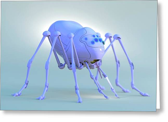 Nanobot Spider Greeting Card by Tim Vernon