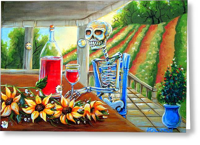 Pinot Noir Greeting Cards - Napa Wine Skeleton Greeting Card by Heather Calderon