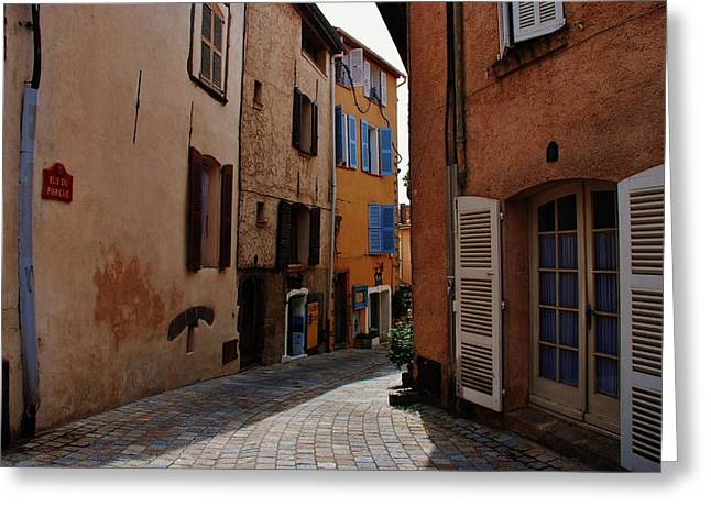 Ivy Corners Greeting Cards - Narrow street in Provence  Greeting Card by Dany  Lison