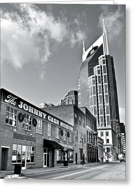 Skyline Of Nashville Greeting Cards - Nashville Black and White Greeting Card by Frozen in Time Fine Art Photography