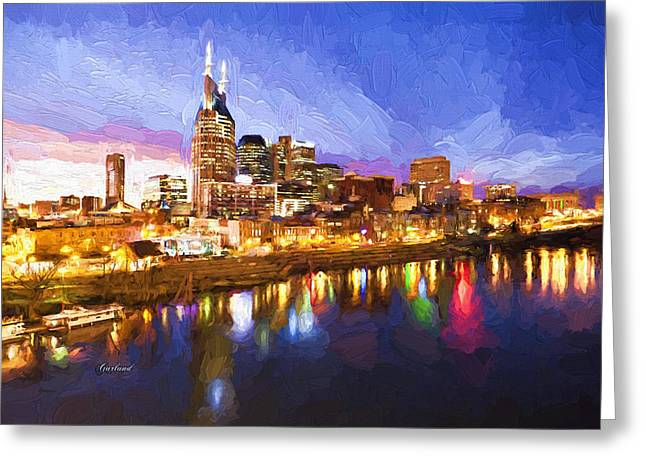 Tennessee River Mixed Media Greeting Cards - Nashville Colors Greeting Card by Garland Johnson