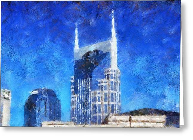 Nashville Downtown Greeting Cards - Nashville Skyline Greeting Card by Dan Sproul