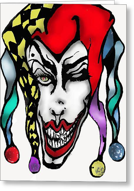 Jester Mixed Media Greeting Cards - 1 Nasty Jester Greeting Card by Tiffany Selig