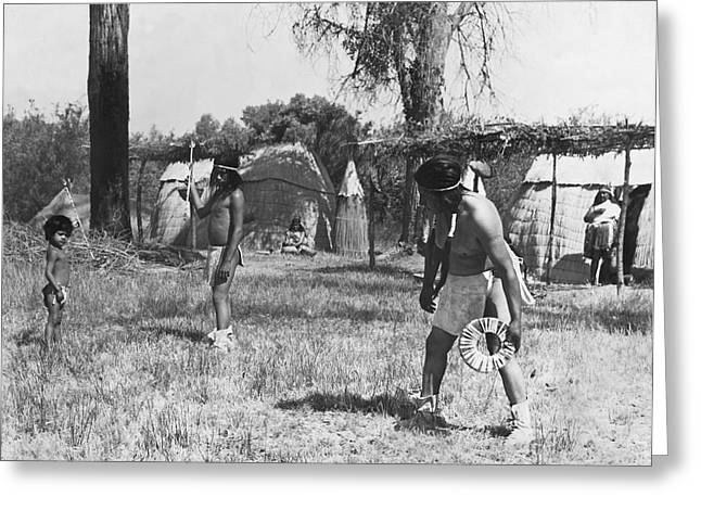 Native American Games Greeting Card by Underwood Archives Onia