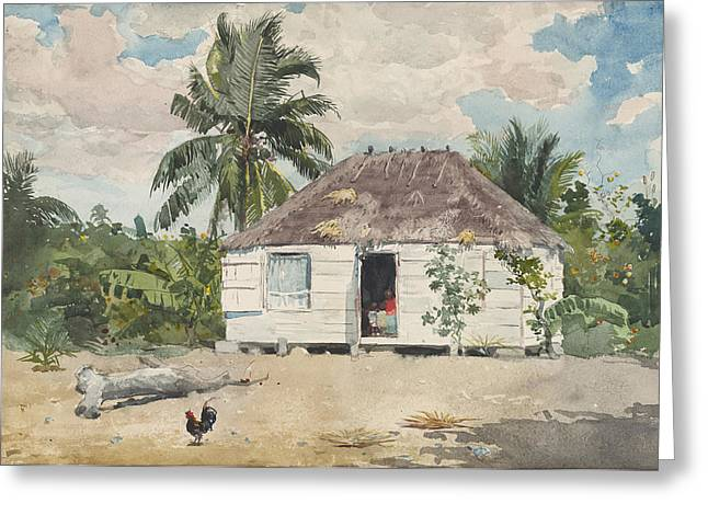 Recently Sold -  - Beach Landscape Greeting Cards - Native Huts Greeting Card by Celestial Images
