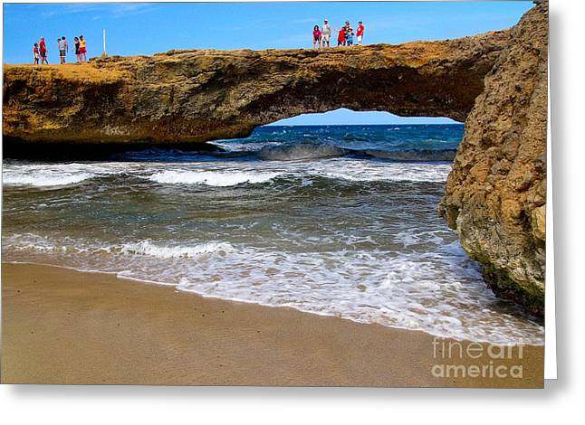 Erosion Greeting Cards - Natural Bridge Aruba Greeting Card by Amy Cicconi