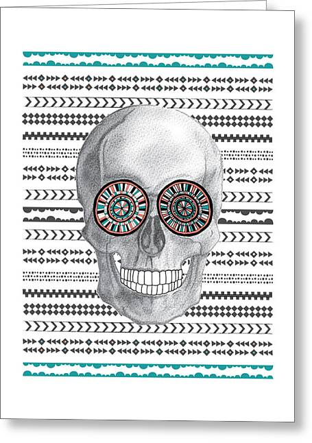 Native American Illustration Greeting Cards - Navajo Skull Greeting Card by Susan Claire
