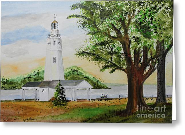 Neenah Light House Greeting Card by Jack G  Brauer