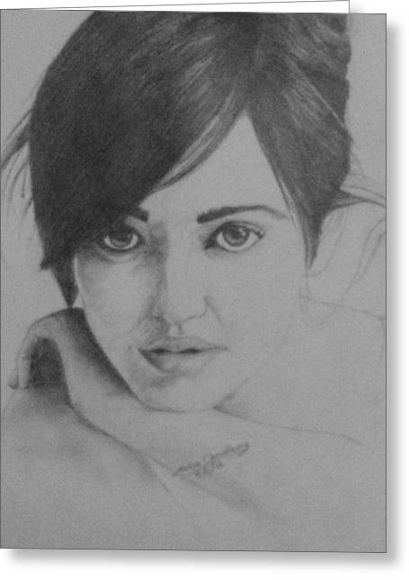 Pondering Drawings Greeting Cards - Neha Sharma Greeting Card by Ankur Choudhary