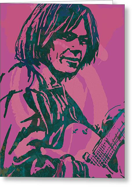 Buffalo Mixed Media Greeting Cards - Neil Young pop artsketch portrait poster Greeting Card by Kim Wang