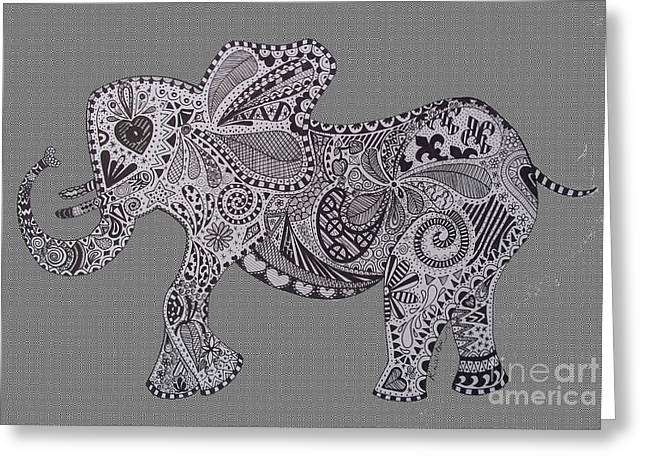 Love The Animal Drawings Greeting Cards - Nelly the Elephant Grey Greeting Card by Karen Larter