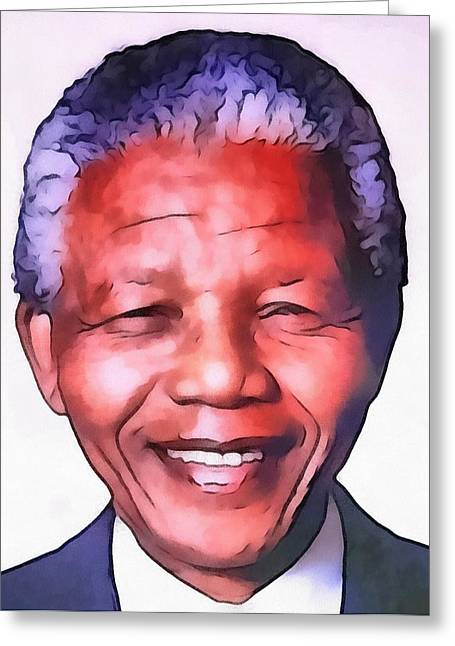 Civil Rights Greeting Cards - Nelson Mandela Greeting Card by Dan Sproul
