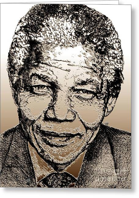 Jem Fine Arts Mixed Media Greeting Cards - Nelson Mandela Greeting Card by J McCombie
