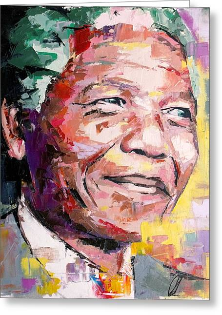 Nelson Mandela Greeting Card by Richard Day