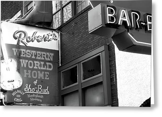 Neon Signs On Building, Nashville Greeting Card by Panoramic Images