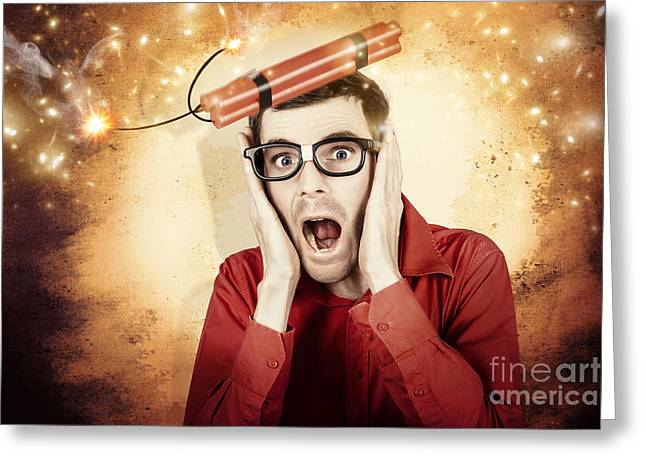 Nerd Business Man Shouting Out In Fear Of A Bomb Greeting Card by Jorgo Photography - Wall Art Gallery