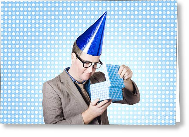 Dunce Greeting Cards - Nerdy business man opening surprise present Greeting Card by Ryan Jorgensen