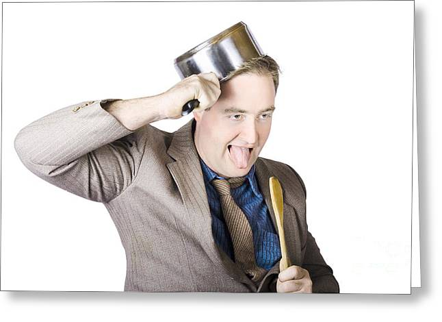 Nerdy Businessman With Cooking Utensils Greeting Card by Jorgo Photography - Wall Art Gallery