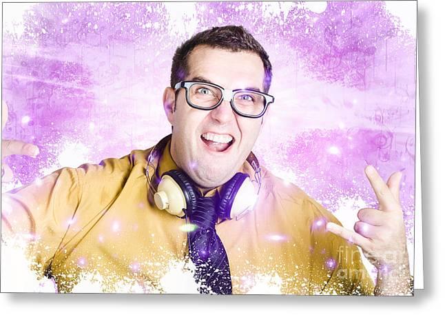 Nerdy Nightclub Dj Spinning A Music Mix Greeting Card by Jorgo Photography - Wall Art Gallery