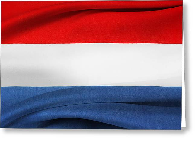 Textile Photographs Greeting Cards - Netherlands flag Greeting Card by Les Cunliffe