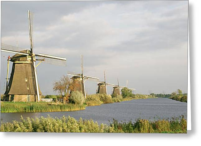 Diminishing Greeting Cards - Netherlands, Holland, Windmills Greeting Card by Panoramic Images