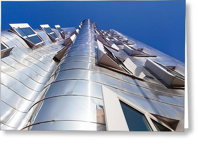 Stainless Steel Greeting Cards - Neuer Zollhof Building Designed Greeting Card by Panoramic Images
