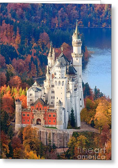 Acryl Greeting Cards - Neuschwanstein Castle in Autumn Colours Greeting Card by Henk Meijer Photography