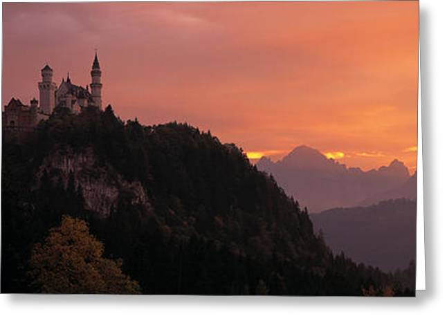 Monarchy Greeting Cards - Neuschwanstein Palace Bavaria Germany Greeting Card by Panoramic Images