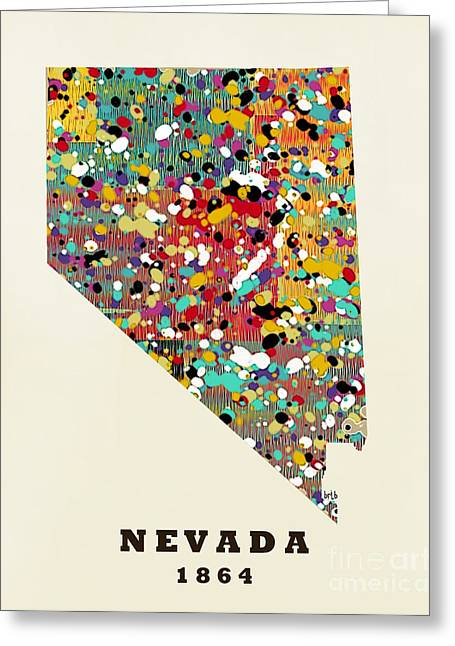 World Map Print Paintings Greeting Cards - Nevada state map modern Greeting Card by Bri Buckley