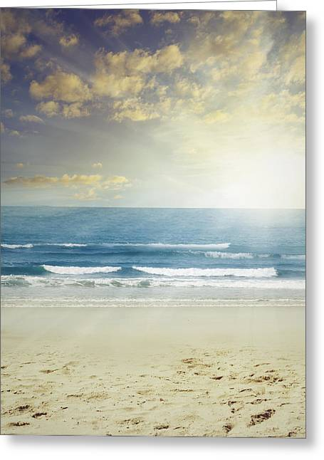 Ocean Beach Photos Greeting Cards - New day Greeting Card by Les Cunliffe