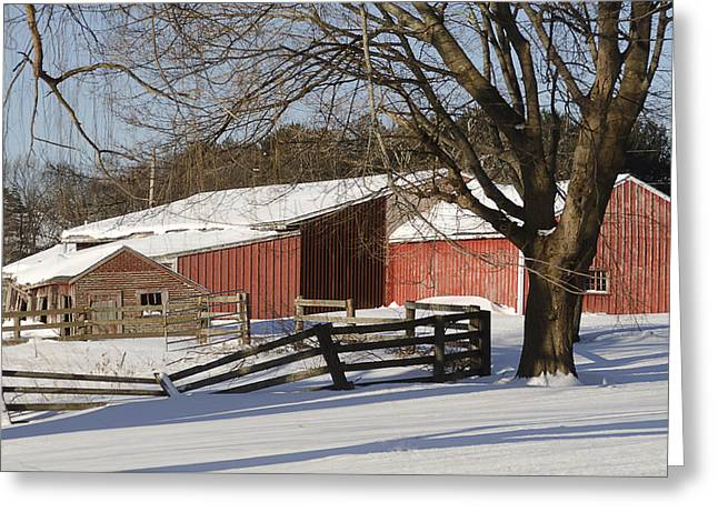 Juno Greeting Cards - New England Barn Greeting Card by Rick Mosher