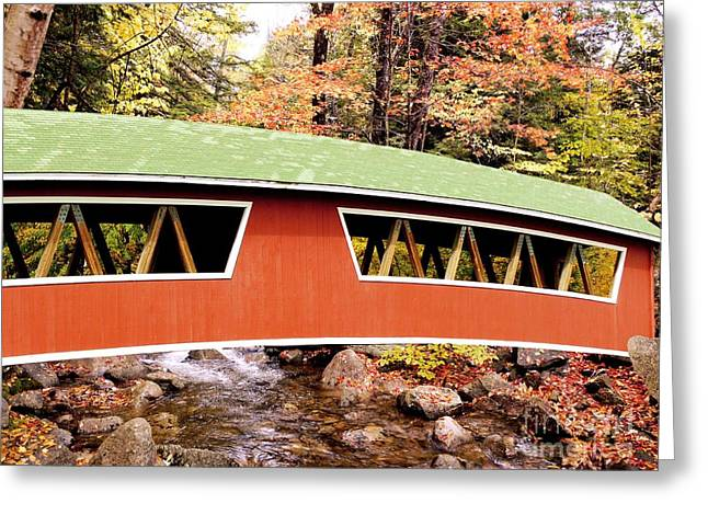 Covered Bridge Greeting Cards - New England Covered Bridge Greeting Card by Tony Craddock
