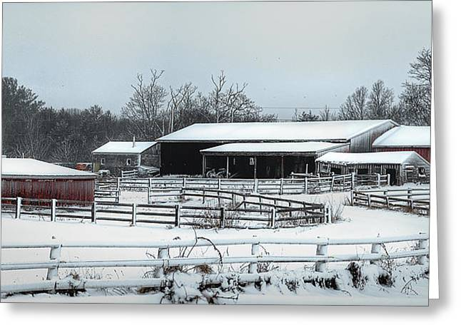 New England Snow Scene Greeting Cards - New England Farm Greeting Card by Rick Mosher