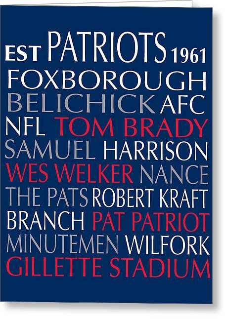 Football Words Greeting Cards - New England Patriots Greeting Card by Jaime Friedman