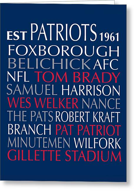 Patriots Framed Prints Greeting Cards - New England Patriots Greeting Card by Jaime Friedman