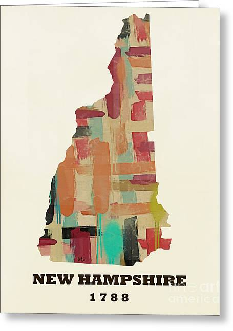 World Map Print Paintings Greeting Cards - New Hampshire state map modern Greeting Card by Bri Buckley
