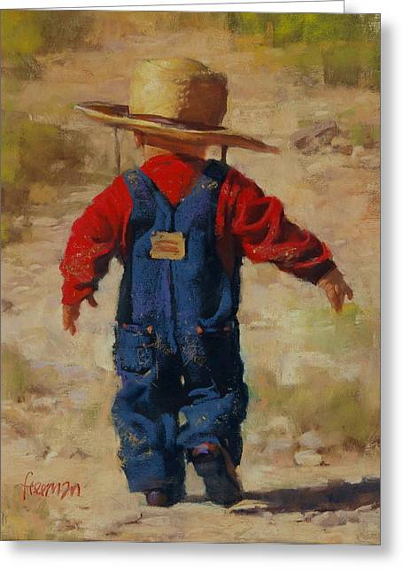 Overalls Pastels Greeting Cards - New Hand Greeting Card by Brian Freeman