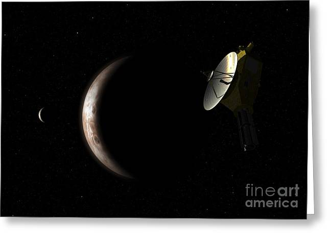 Space Probes Greeting Cards - New Horizons Spacecraft Approaches Greeting Card by Walter Myers