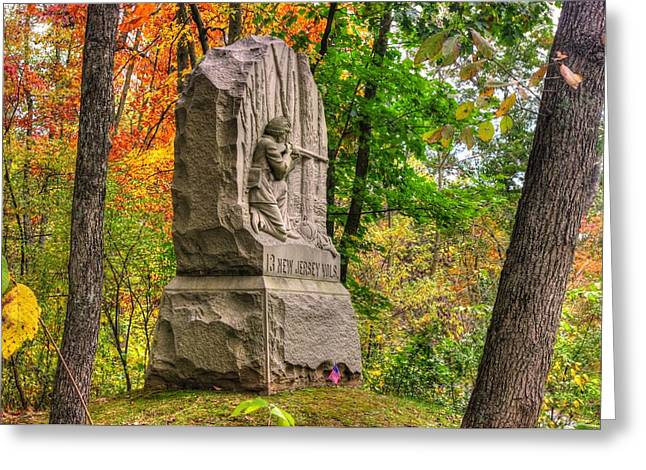 Brigade Greeting Cards - New Jersey at Gettysburg - 13th NJ Volunteer Infantry Near Culps Hill Autumn Greeting Card by Michael Mazaika