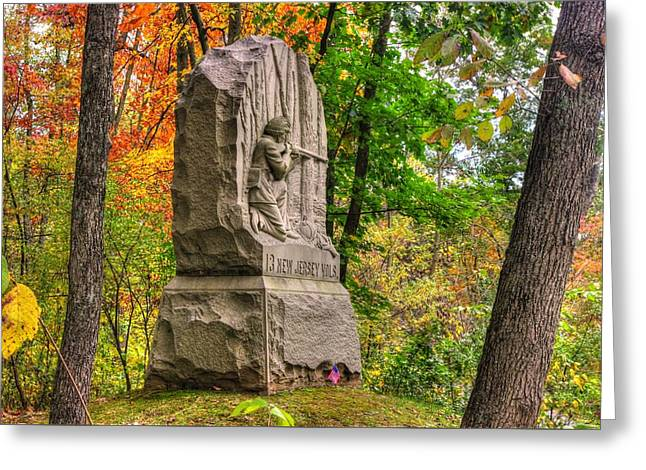 Division Greeting Cards - New Jersey at Gettysburg - 13th NJ Volunteer Infantry Near Culps Hill Autumn Greeting Card by Michael Mazaika
