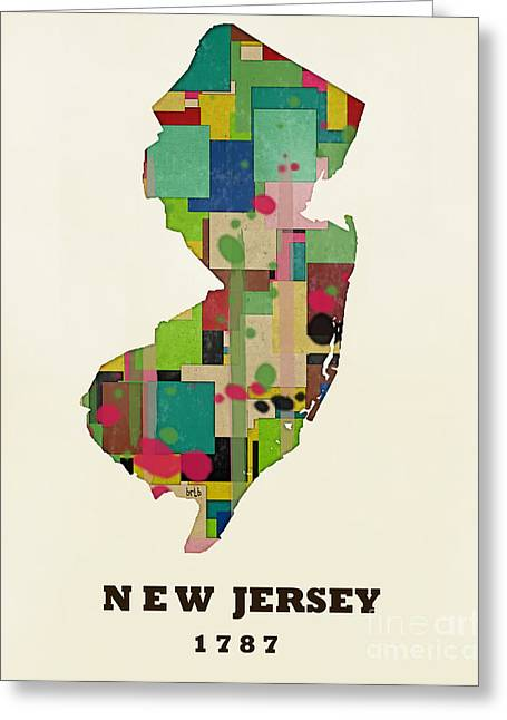 World Map Print Paintings Greeting Cards - New Jersey State Map Modern Greeting Card by Bri Buckley