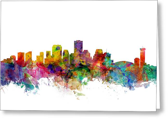 Cityscape Digital Art Greeting Cards - New Orleans Louisiana Skyline Greeting Card by Michael Tompsett