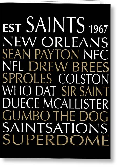 Football Words Greeting Cards - New Orleans Saints Greeting Card by Jaime Friedman